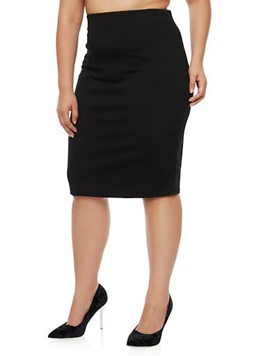 Plus Size Midi Pencil Skirt,BLACK,large