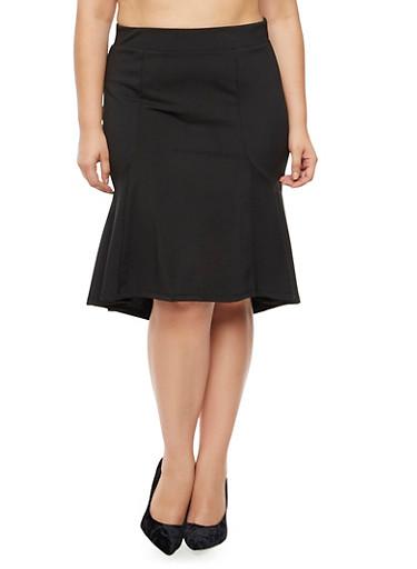 Plus Size Flounce Pencil Skirt,BLACK,large