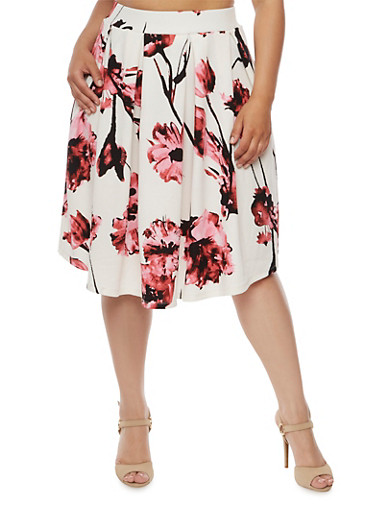 Plus Size Floral Pleated Skater Skirt,BLUSH,large