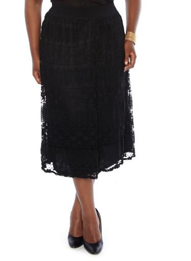 image plus size black lace maxi skirt