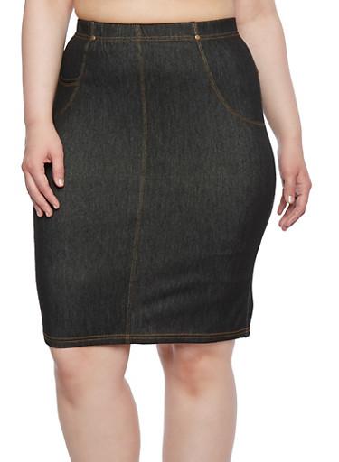Plus Size Denim Pencil Skirt with Back Pockets,BLACK,large