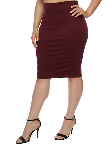 Plus Size Solid Pencil Skirt,PLUM,large