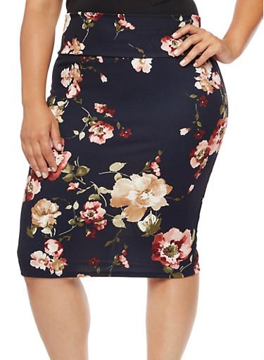 Plus Size Crepe Knit Floral Pencil Skirt,NAVY,large