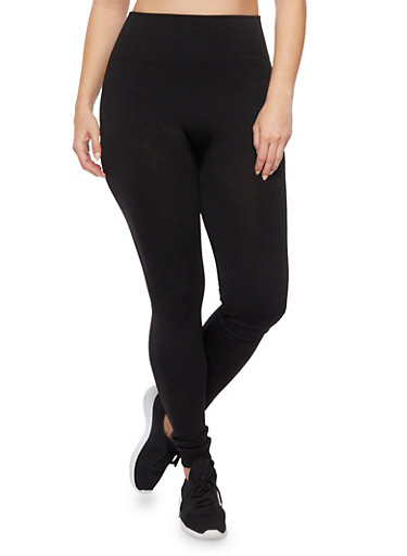 Plus Size Fleece High Waisted Leggings,BLACK,large
