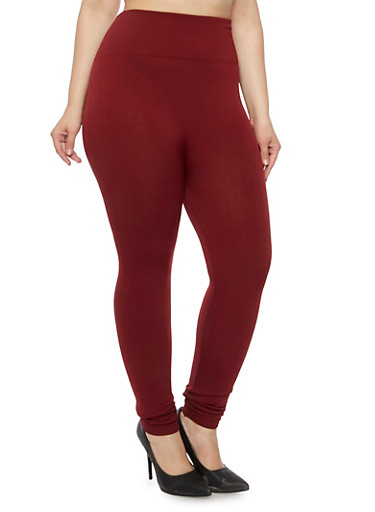 Plus Size High Waisted Leggings with Fleece Lining,BURGUNDY,large