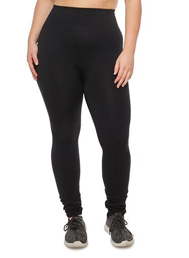 Plus Size Solid Fleece Lined Waffle Knit Leggings,BLACK,large
