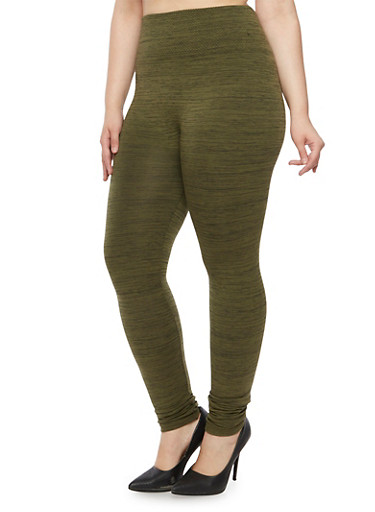 Plus Size Space Dye Leggings with Fleece Lining,OLIVE,large