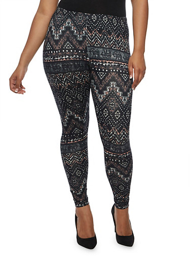 Plus Size Abstract Zig Zag Print Leggings at Rainbow Shops in Daytona Beach, FL | Tuggl