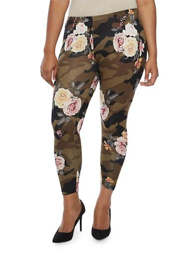 Plus Size Floral Camo Print Leggings,OLIVE,large