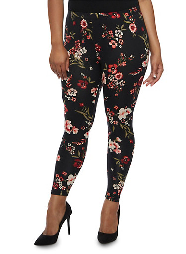 Plus Size Floral Print Leggings,BLACK,large