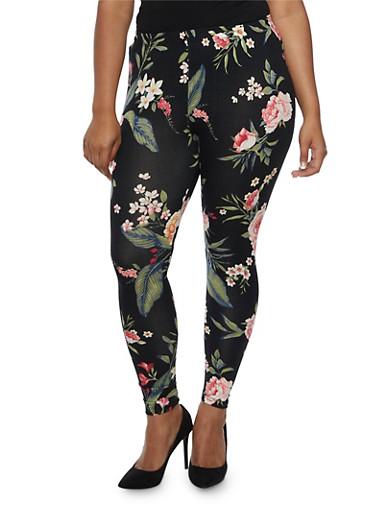 Plus Size Floral Print Leggings,BLACK,large