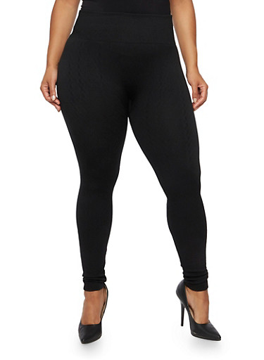 Plus Size Leggings with Geometric Knit,BLACK,large