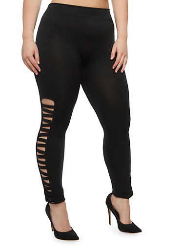 Plus Size Lattice Side Leggings,BLACK,large