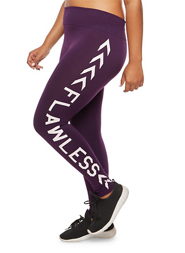 Plus Size Flawless Graphic Leggings,PURPLE,large