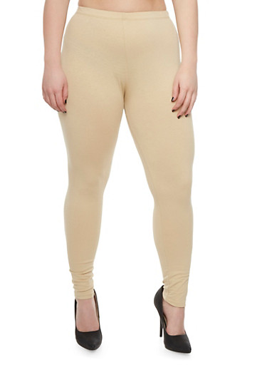 Plus Size Solid Legging,SESAME,large