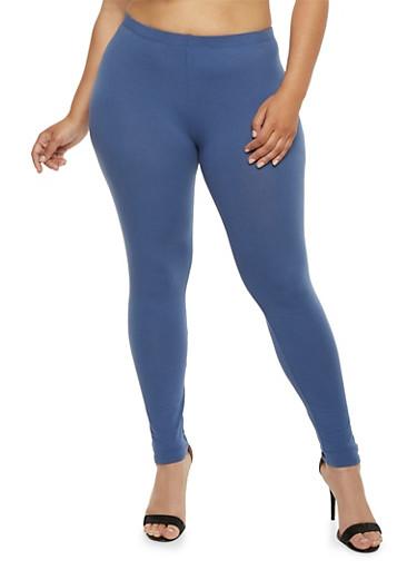 Plus Size Solid Leggings,INDIGO  ECLIPSE,large