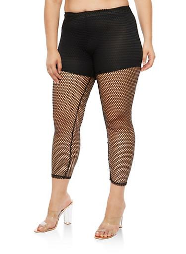 Plus Size Fishnet Pants,BLACK,large