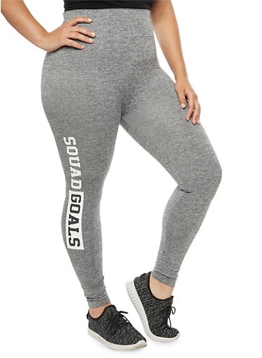Plus Size Squad Goals Graphic Leggings,GRAY,large
