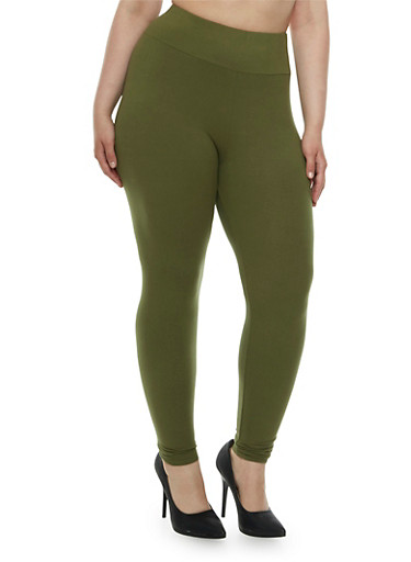 Plus Size Brushed Leggings with High Waist,OLIVE,large