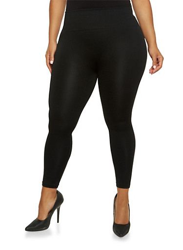 Plus Size Fleece Leggings with High Waist,BLACK,large