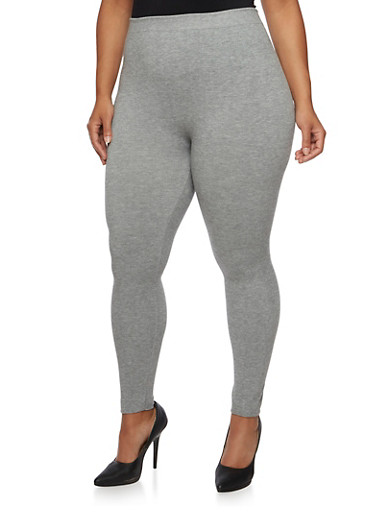 Plus Size Solid Leggings,HEATHER GREY,large
