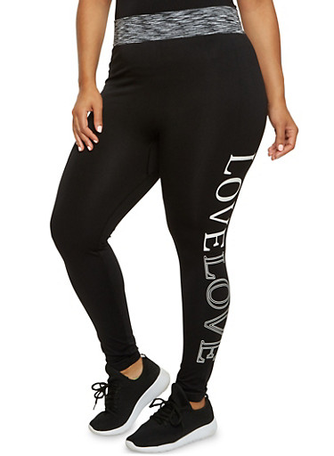 Plus Size Performance Leggings with Love Graphic,BLACK,large