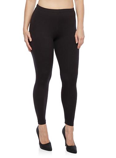 Plus Size Basic Leggings,BLACK,large