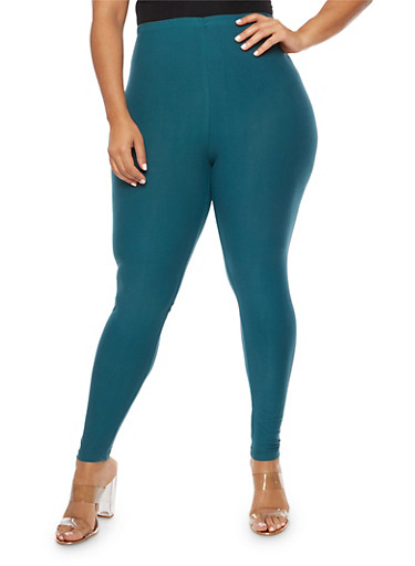 Plus Size Solid Soft Knit Leggings,TEAL(ATLANTIC DEEP),large
