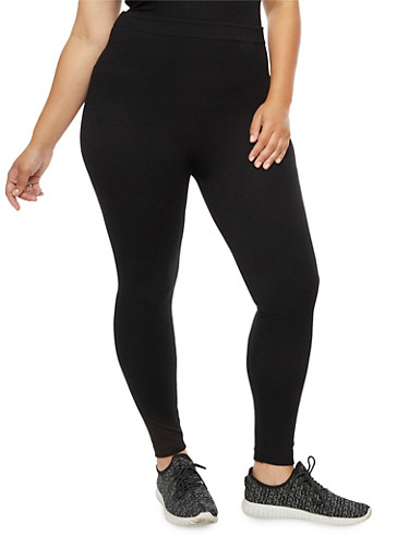 Plus Size Terry Lined Leggings,BLACK,large