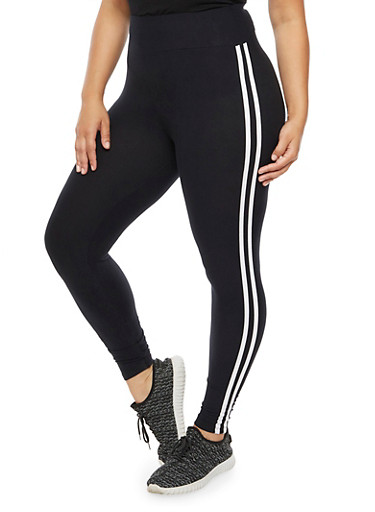 Plus Size Soft Knit Athletic Leggings,BLACK,large