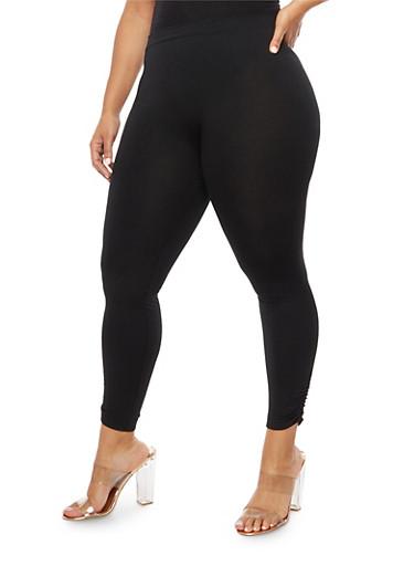 Plus Size Fleece Ruched Leggings,BLACK,large