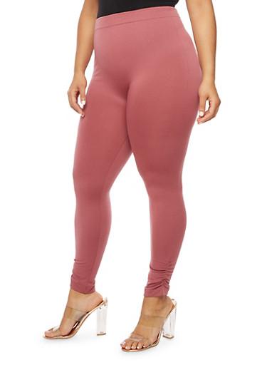 Plus Size Fleece Ruched Leggings,MAUVE,large