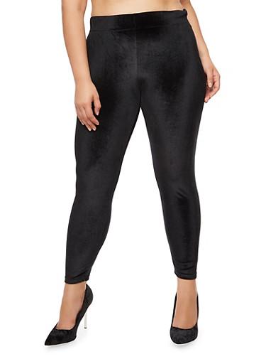 Plus Size Velvet Leggings,BLACK,large