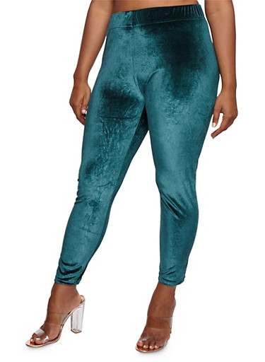 Plus Size Velvet Leggings,TEAL -ATLANTIC DEEP,large