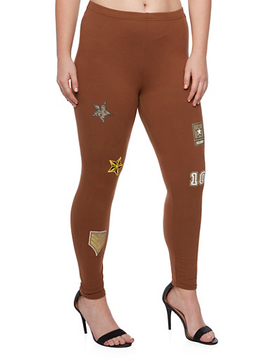 Plus Size Leggings with Patches,BROWN,large