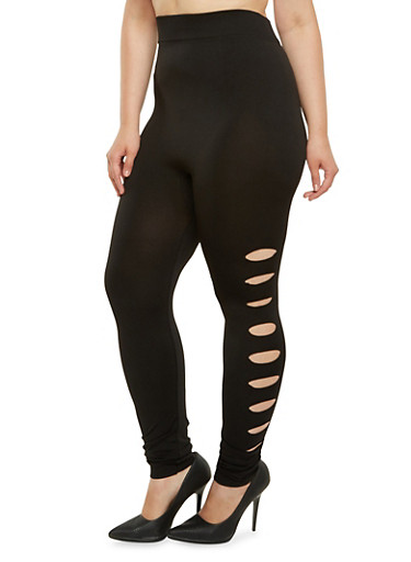 Plus Size Slash Detail Leggings,BLACK,large