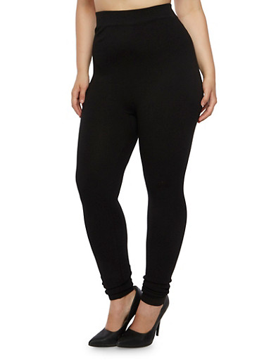 Plus Size Ribbed Leggings,BLACK,large