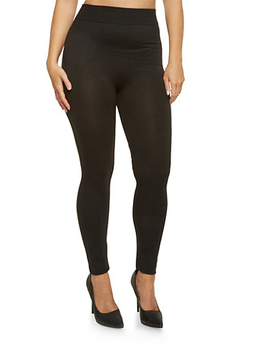 Plus Size Solid Leggings,BLACK,large