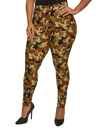 Plus Size Camo Leggings with High Waist,BROWN,large