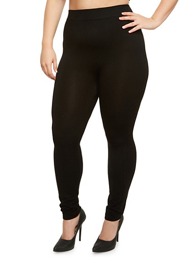 Plus Size Solid Leggings,BLACK,large