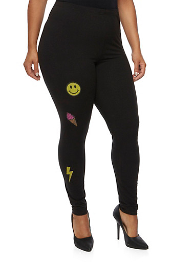 Plus Size Leggings with Patches,BLACK,large