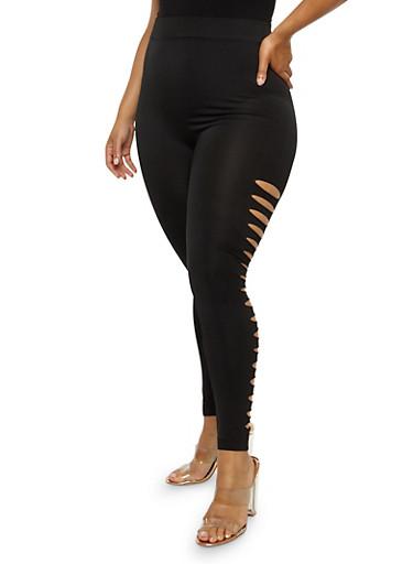 Plus Size Slashed Leggings,BLACK,large