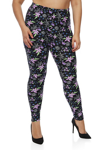 Plus Size Tulip Print Leggings,BLACK-PUR,large