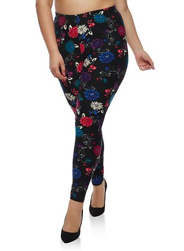 Plus Size Multi Floral Leggings,BLACK,large