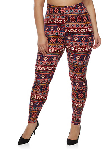 Plus Size Tribal Print Leggings - Rainbow