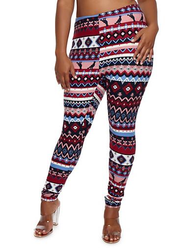 Plus Size Soft Knit Aztec Print Leggings,BURGUNDY,large