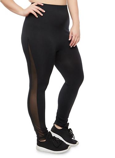 Plus Size Basic Legging with Mesh Insert,BLACK,large