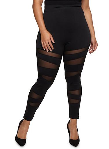 Plus Size Mesh Insert Leggings,BLACK,large