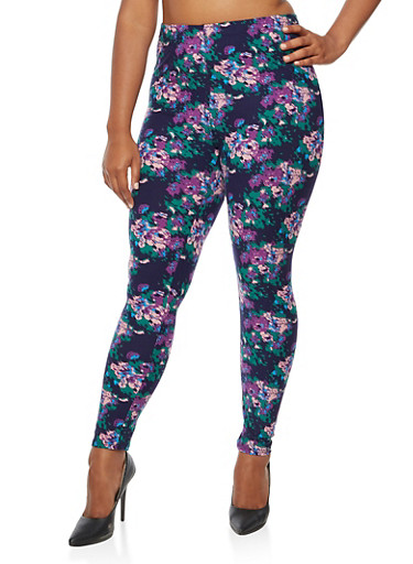 Plus Size Printed Leggings,MAUVE COMBO,large