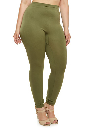 Plus Size Solid Leggings,OLIVE,large